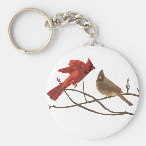 Festive Red Cardinals Basic Round Button Keychain