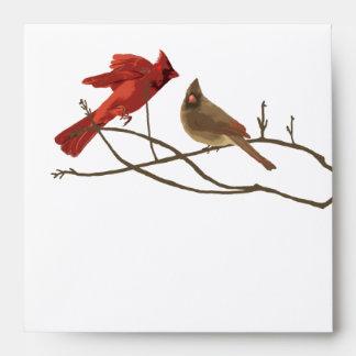 Festive Red Cardinals Christmas Envelope
