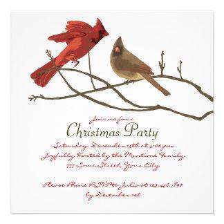 Festive Red Cardinals Christmas Party Custom Invite