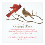 Festive Red Cardinals Christmas Party Custom Invite
