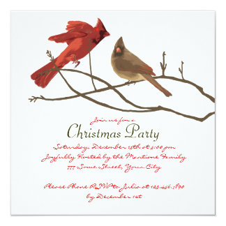 Festive Red Cardinals Christmas Party 5.25x5.25 Square Paper Invitation Card