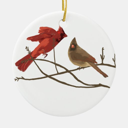 Festive Red Cardinals Christmas Tree Ornament