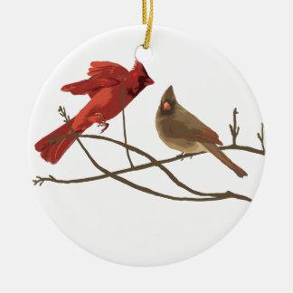 Festive Red Cardinals Christmas Tree Ornament