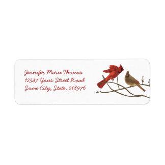Festive Red Cardinals Return Address Label