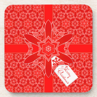 Festive Red Christmas Lace Beverage Coaster