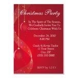 "Festive Red Christmas Party Invitation 5"" X 7"" Invitation Card"