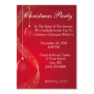 Festive Red Christmas Party Invitation