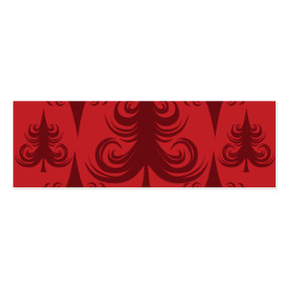 Festive Red Christmas Tree Holiday Xmas Design Double-Sided Mini Business Cards (Pack Of 20)