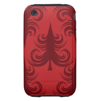 Festive Red Christmas Tree Holiday Xmas Design Tough iPhone 3 Covers