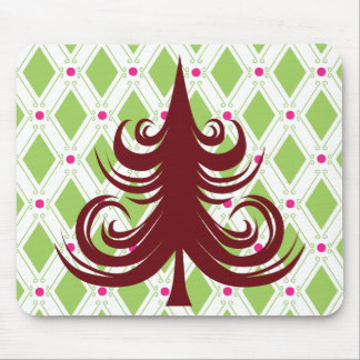 Festive Red Christmas Tree on Holiday Pattern Mouse Pad