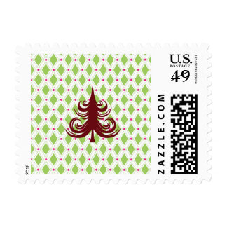 Festive Red Christmas Tree on Holiday Pattern Postage