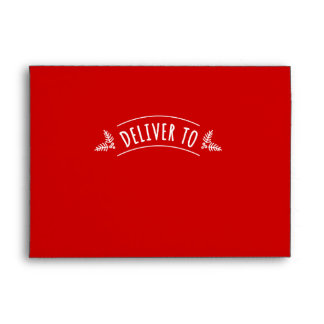 Festive Red Deliver To Christmas Holiday Envelope