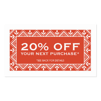 Festive Red Discount Coupon Card Business Cards