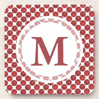Festive Red Double Dots Pattern Beverage Coaster