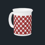 """Festive Red Double Dots Pattern Drink Pitcher<br><div class=""""desc"""">Red Double Dots Pattern</div>"""