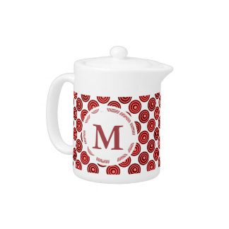 Festive Red Double Dots Pattern Teapot
