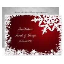 festive red elegant snowflakes winter wedding card