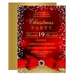Festive Red Gold Bow Christmas Party Invitation