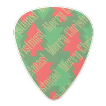 Festive Red Gold Green Christmas Tree Polycarbonate Guitar Pick by photoplanetstudio at Zazzle