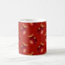 Festive Red Gold Ornaments Coffee Mug