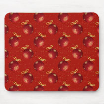 Festive Red Gold Ornaments Mouse Pad