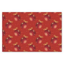 Festive Red Gold Ornaments Tissue Paper
