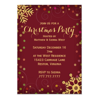 Festive Red Gold Snowflakes Christmas Party Card