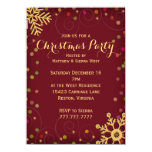 """Festive Red Gold Snowflakes Christmas Party 4.5"""" X 6.25"""" Invitation Card"""