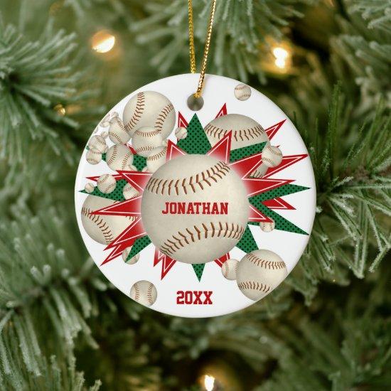 festive red green baseball softball blowout ceramic ornament