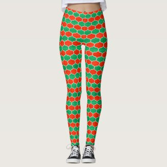 Festive Red Green Christmas Ogee Pattern Leggings