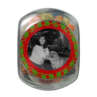Festive red green Christmas photo frame Jelly Belly Candy Jars