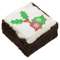 Festive Red & Green Christmas Snowflake Bells Square Brownie