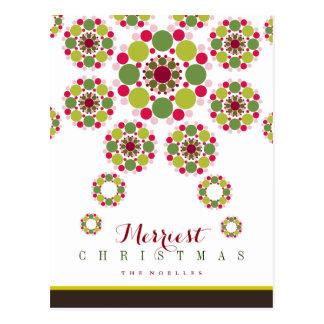 Festive Red Green Christmas Star Holiday Postcard