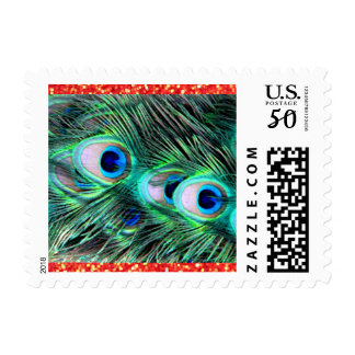 Festive Red/Green Christmas Xmas Peacock & Glitter Postage