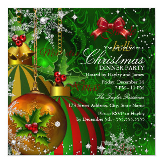 Festive Red Green Gold Christmas Dinner Party Card