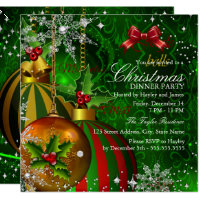 Festive Red Green Gold Christmas Dinner Party Invitation