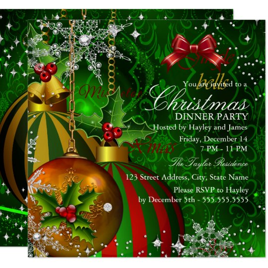 festive red green gold christmas dinner party invitation zazzle com