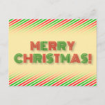 "[ Thumbnail: Festive Red & Green ""Merry Christmas!"" Postcard ]"