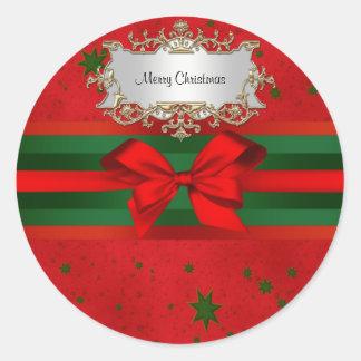 Festive Red Green Stars Bow Ribbon Christmas Classic Round Sticker