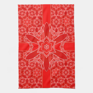 Festive Red Holiday Lace Hand Towel