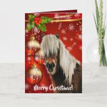 Festive Red Horse Portrait Merry Christmas Card