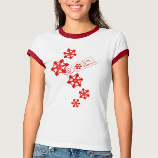 Festive Red Lace Christmas Star Flowers T-Shirt