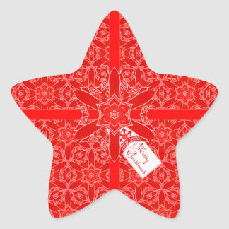Festive Red Lace Christmas Star Stickers
