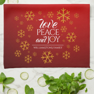 Festive Red Love, Peace, and Joy with Snowflakes Hand Towel