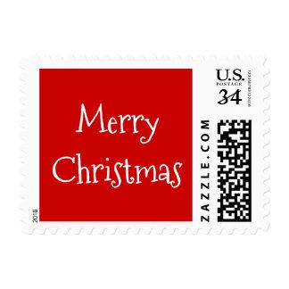 Festive Red Merry Christmas Greetings Postcard US Postage
