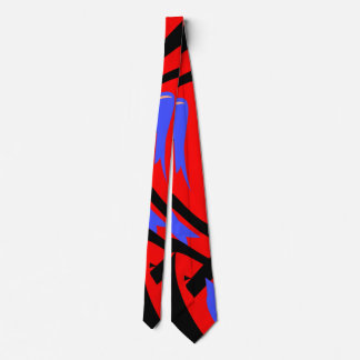 Festive Red Native Indian and Japanese Art Blend Tie