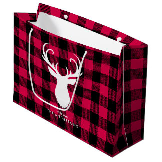 Festive Red Plaid Pattern Christmas Large Gift Bag