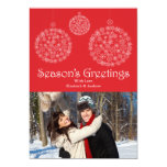 "Festive Red Snowflake Ornament Holiday Photo Card 5"" X 7"" Invitation Card"