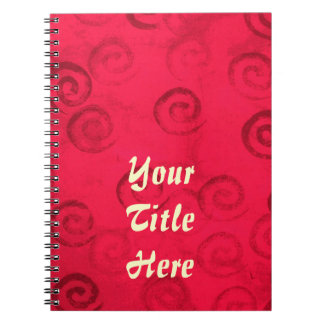 Festive Red Spirals custom Spiral Notebook