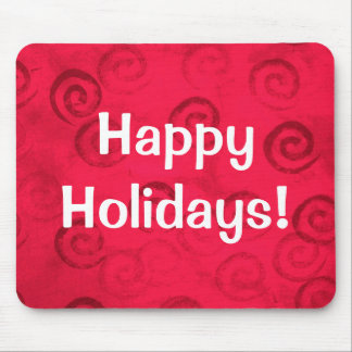 "Festive Red Spirals ""Happy Holidays"" Mouse Pad"